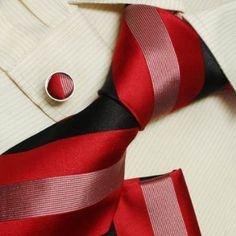 Dark red designer for men black Valentine fashion silk neck tie cufflinks handkerchief set H5062