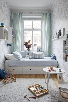 small kids room ideas how to furnish and organize a small space for children light bright green blue bedroom decor inspo day bed trundle bed design inspiration Small Bedroom Designs, Small Room Design, Kids Room Design, Bed Design, Bedroom Small, Narrow Bedroom Ideas, Small Childrens Bedroom Ideas, Long Narrow Bedroom, Tiny Girls Bedroom