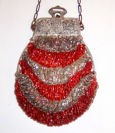 silver and red glass beaded purse