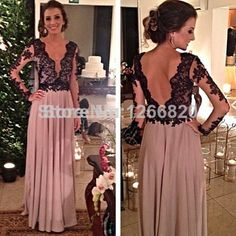 2014 New Fashion High Quality Floor-Length Full Sleeve Sexy V-Neck with Appliques Backless A-Line Prom/Evening Dresses $128.00