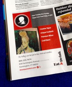 Print ad developed for 4 Eat & Drink in latest Hartford Magazine.