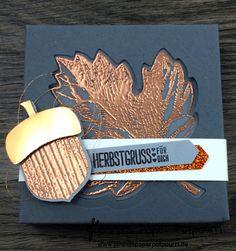 jpp - moderne Herbst Box / Blätter Verpackung / Autumn / Grau Kupfer / Stampin' Up! Berlin / Vintage Leaves / Framelits Laub Leaflets / Eichel / Herbstgrüße / Pergament Vellum  www.janinaspaperpopourri.de