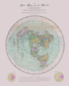 Flat Earth Map : New Map Of The World : Circa 1899 : Christopher U0026 Gleason