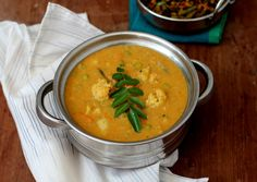 Cauliflower Kootu, a vegetarian/vegan curry prepared with tur dal, coconut and tamarind. Goes well with rice, pulao or rotis. (Mix Vegetables Sabzi)