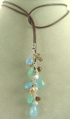 Blue Chalcedony and Chocolate Pearl Lariat Necklace, Kiwi Jewels