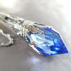 Sapphire+Blue+Necklace+Sterling+Silver+Chain+by+DorotaJewelry,+$39.90