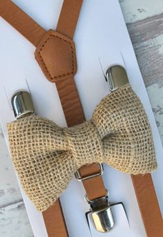 SET Kids Toddler Boys Brown Pu Leather Suspenders & Tan Burlap Clip on Bow Tie Vintage Style Bowtie 8 MONTHS - ADULT size