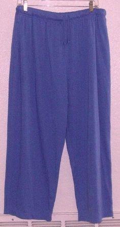 ALL AMERICAN COMFORT Periwinkle Poly/Cotton Elastic Waist Pants 1X Petite #AllAmericanComfort #CasualPants