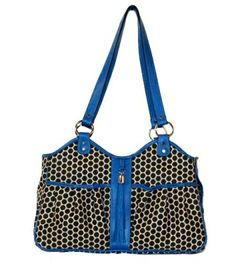 Petote Metro Classic Espresso Dots Cobalt Leather Trim with Tassel Dog Carrier That Looks Like a Designer Handbag (MADE in the USA) http://www.chicpooch.com/petote-metro-classic-espresso-dots-cobalt-leather-trim-with-tassel-pet-carrier.html