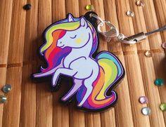 Fantasy Rainbow Unicorn Acrylic Charms with Phone Strap (6.40 USD) by ShinePaw
