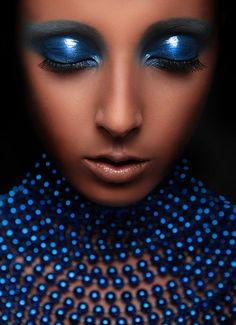 Deep metallic blue eyeshadow