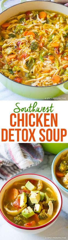Southwest Chicken Detox Soup Recipe - A fabulous healthy low-fat, low-carb, gluten-free soup, with tons of flavor! This cleansing soup packs a punch.