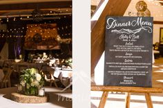 Lake Tahoe wedding photography reception room at the Olympic Valley Lodge chalkboard menu  © www.tahoeweddingphotojournalism.com