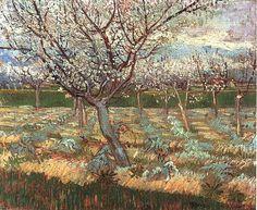 '`apricot` arboles in flor 2', aceite de Vincent Van Gogh (1853-1890, Netherlands)