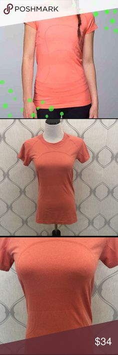 Lululemon peach/ pink swiftly short sleeve tee Lululemon peach/ pink swiftly crew neck short sleeve tee. Made with lightweight fabric and seamless construction to keep you cool and moving freely. It's silverescent technology prevents growth of odor causing bacteria. Tight fit and hip length. Preloved with a few snags as seen in pic 4. Tops Tees - Short Sleeve