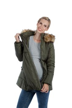 Modern Eternity Convertible Maternity Puffer Jacket with Faux Fur Trim Maternity Winter Coat, Maternity Jacket, Maternity Coats, Puffer Jackets, Winter Jackets, Fur Trim, Fit And Flare, Military Jacket, Faux Fur