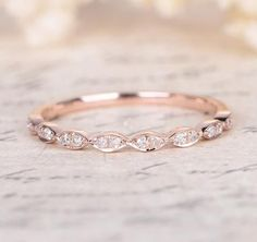 Pave Diamond Wedding Band Half Eternity Anniversary Ring 14K Rose Gold
