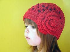 Girls Crocheted Hat, Girls Crocheted Beanie, Girls Red Crocheted Hat, Girls Red Hat, Christmas Hat, Winter Fashion,  CUSTOM MADE. $25.00, via Etsy.
