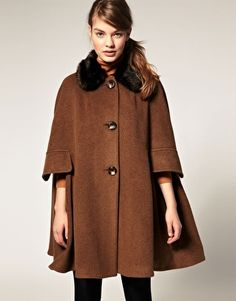 ASOS Cape With Fur Trim