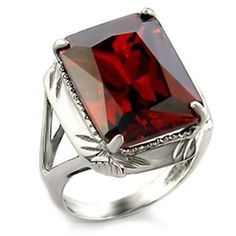 $21.80 with free shipping. Women's 7.94 Carats Sterling Silver Deep Garnet Red Cubic Zirconia Ring - SIZE 5 #HopeChestJewelry #Solitaire