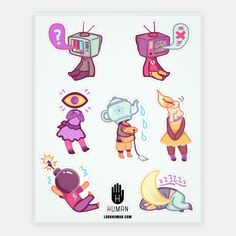 Cute object head stickers featuring a sleeping moon, static old fashioned tv head, bomb, candle,teapot and eye! Cartoon Drawings, Cool Drawings, Drawing Stuff, Kawaii Drawings, Drawing Sketches, Pugs, Object Heads, Tv Head, Character Design Inspiration