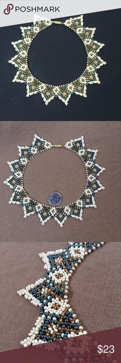 "Vintage Woven Beadwork Collar Necklace Vintage OOAK handmade beaded choker in cream, iridescent peacock & gold seed beads. 15"" long open. 4&1/2"" inside diameter. Appx 1"" wide. Light and flexible. Feels good on and lies nicely on. The triangle motif creates a striking crown effect. Instant goddess factor for sure. Thanks for stopping by my closet. Vintage Jewelry Necklaces"