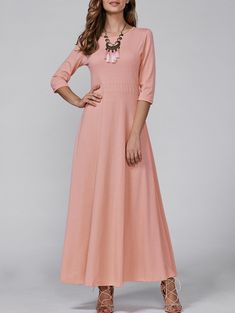 3/4 Sleeve Vintage Maxi Flowing Dress - PINK S
