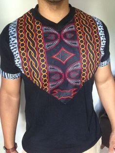 Modern African Print Men T-Shirt Black V-Neck by COCUSHUBI on Etsy