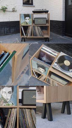 Vinylmøbler i massiv eg. Her er et ideelt møbel til din samling af . Vinyl Record Cabinet, Vinyl Record Storage, Lp Storage, Storage Ideas, Record Player Table, Vinyl Record Player, Vinyl Records, Mp3 Player, Record Display