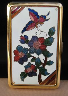 Butterfly on Flowers Enameled Cigarette Case , Gold in color
