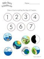 Free creation sequencing printable - preschool, early elementary, Bible printables for many stories