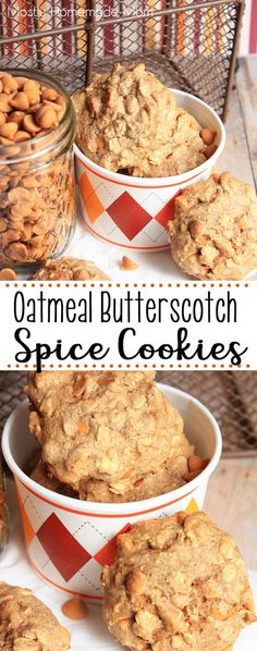 Oatmeal Butterscotch Spice Cookies made with spice cake mix, applesauce, rolled oats, and butterscotch chips. These amazing and easy cookies are perfect with your morning coffee! #spicecookies #oatmealcookies #butterscotchcookies #cookies #recipe #dessert #cakemix