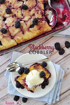 Homemade Blackberry Cobbler ~ delicious served warm out of the oven with vanilla ice cream! | FiveHeartHome.com