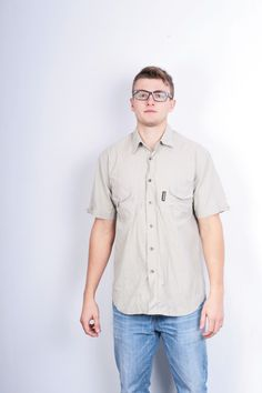 Napapijri Geographic Mens L Outdoor Shirt Beige Cotton Nylon Short Sleeve
