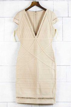 Herve Leger Kiara Crochet Nude Sleeveless Dresses 821247171