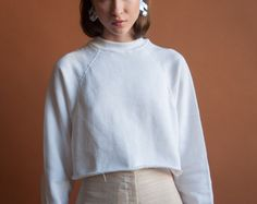 deadstock white cotton cropped sweatshirt / by persephonevintage
