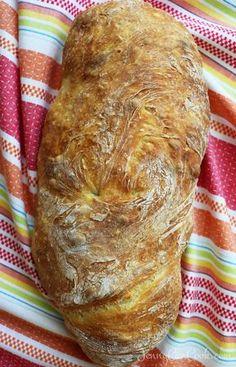No Knead Ciabatta Bread - recipe from Jenny Jones (Jenny Can Cook) No Dutch oven needed. No Knead Ciabatta Bread - recipe from Jenny Jones (Jenny Can Cook) No Dutch oven needed. No Knead Ciabatta Bread Recipe, Pain Ciabatta, No Knead Bread, Homemade Ciabatta Bread, Homemade Breads, Cibatta Bread Recipe, Yeast Bread, Artisan Bread Recipes, Bread Machine Recipes