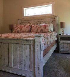 Farmhouse King Bed - knotty alder and grey stain | Do It Yourself ...