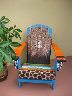 Hand Painted Adirondack chair. King of the Jungle & Hand painted adirondack chair. Patiochic.com   Chairs   Pinterest