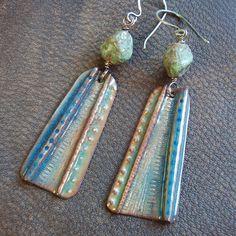 Landscape- Blue and Green Enameled Foldform Earrings