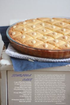 Rathai's Recipes: Semolina Cake - Basbousa or Namoura