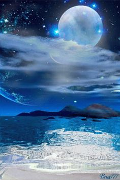 Blue Moon In The Moonlight. Moon Pictures, Gif Pictures, Pretty Pictures, Moon Images, Art Images, Beautiful Moon, Beautiful Scenery, Animation, Blue Moon