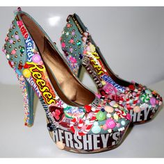 Candy Custom Made High Heels. Hand Made Candy Shoes (180 CAD) ❤ liked on Polyvore featuring shoes, chocolate shoes, wedges shoes, high heel wedge shoes, chocolate brown shoes and flat shoes