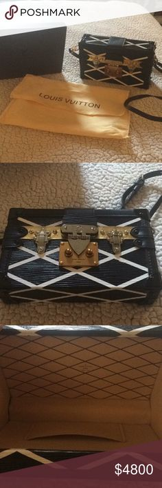 Authentic Louis Vuitton Petite Malle Gorgeous purse. Bold design sure to turn a few heads. Brass hardware is all intact. Epi leather. Inside shows no wear at all. Lamb skin lining. Detachable strap so it can be carried as a cross body or clutch. One small imperfection on the front, looks like it got scratched. Doesn't affect the look at all. Date code is in the pics. Includes box and dust bag. Price is negotiable within reason. Serious buyers only please and all low ball offers will be…