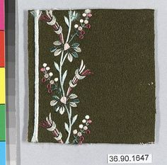 Sample Date: early 19th century Culture: French Medium: Silk on felt Dimensions: L. 3 1/4 x W. 3 inches 8.3 x 7.6 cm Classification: Textiles-Embroidered Credit Line: Gift of The United Piece Dye Works, 1936