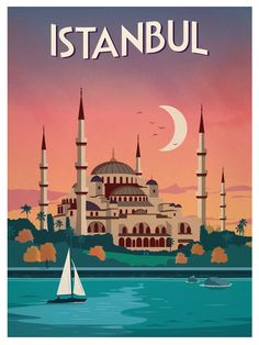 Vintage Istanbul Print by IdeaStorm Media. Vintage Istanbul Print by IdeaStorm Media. The post Vintage Istanbul Print by IdeaStorm Media. City Poster, Poster S, Vintage Travel Posters, Vintage Postcards, Posters Decor, Tourism Poster, Travel Illustration, Illustrations And Posters, Cities
