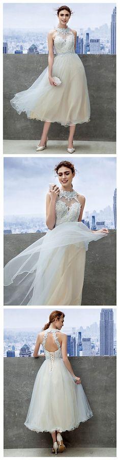 What a fairy like Sky Blue A-line Jewel Tea-length Lace dress!