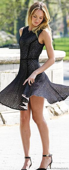 Candice Swanepoel | Street Style This is a reversible lace dress from Victoria Secret.