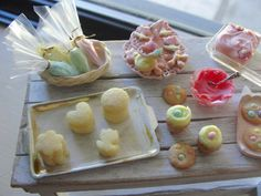 Dollhouse miniature Easter baking set cookies and cake