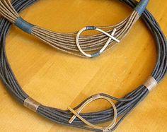 Verano griego para su regalo de ropa collar collar de pescado griego cuerda azul collar cable multitrenza collar verano declaración collar